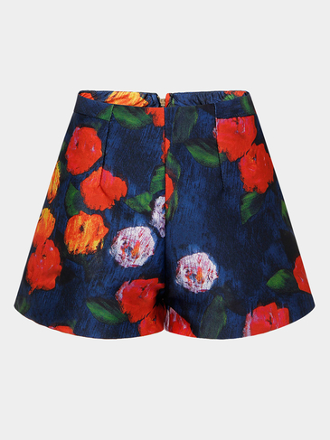 Floral Print Shorts With Wide Cut Leg