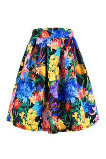 Floral Print Pleated Full Skirt