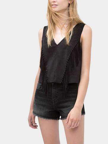 Black Fringed Detail Suedette Vest