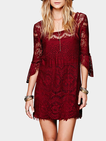 Burgundy Lined Lace Dress