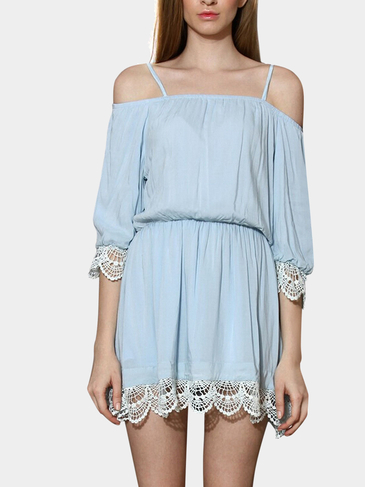 Cold Shoulder Dress With Lacy Crochet Details