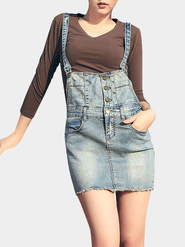 Blue Denim Button Pinafore Skirt