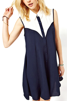 Color Block Sleeveless Shirt Dress