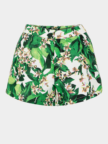 Green Floral Print High-rise Shorts