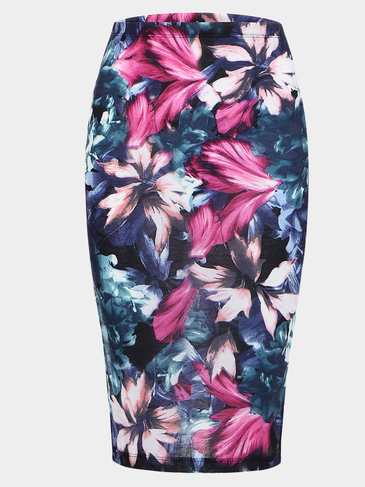 Pencil Midi Skirt With Side Split