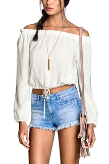 White Off-the-shoulder Drawstring Top