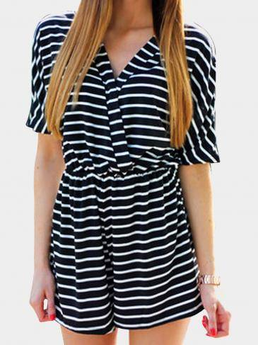 Black V-neck Striped Playsuit