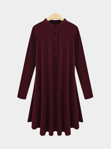 Plus Size Long Sleeve Casual Dress In Burgundy