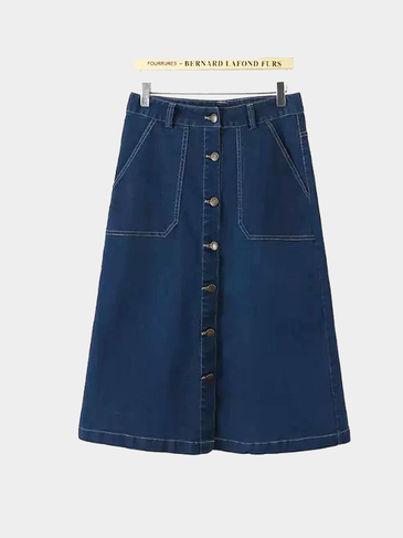Button Through Denim Midi A-line Skirt