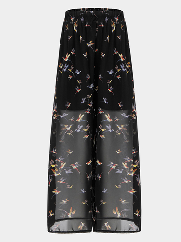 Bird Print Chiffon Wide Leg Trousers