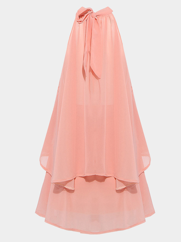Coral Halter Neck Chiffon Co-ord