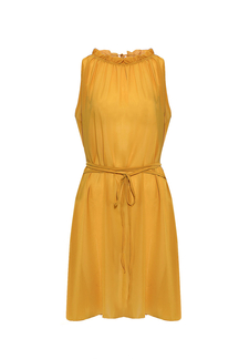 Yellow Tie Waist Rushed Swing Dress
