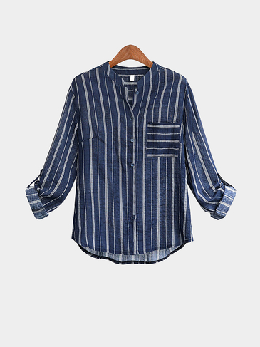 Plus Size Blue Stripe Shirt