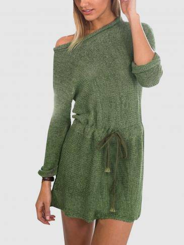Army Green Long Sleeves Tie-waist Sweater Dresses