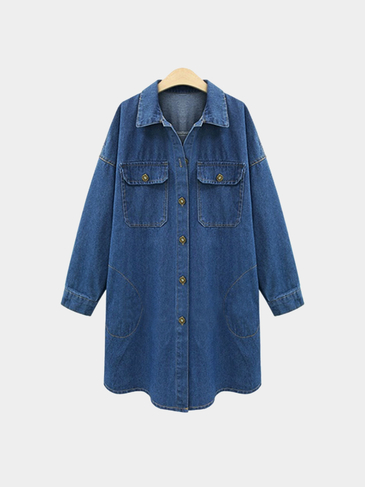 Plus Size Word Print Denim Duster Coat