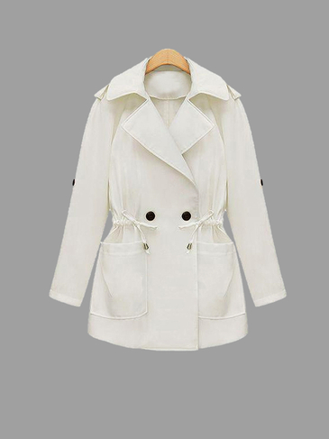 Plus Size White Tie-Waist Trench Coat