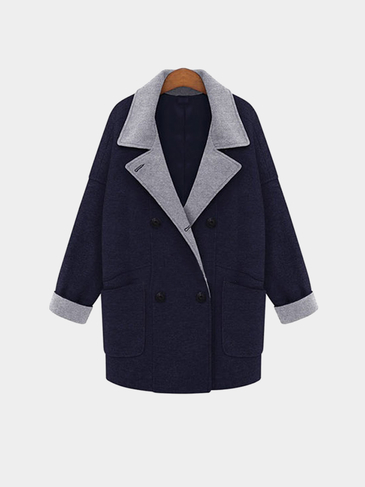 Plus Size Navy Double-Breasted Duster Coat