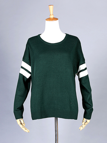 Dark Green Stripe Sleeve Loose Sweater