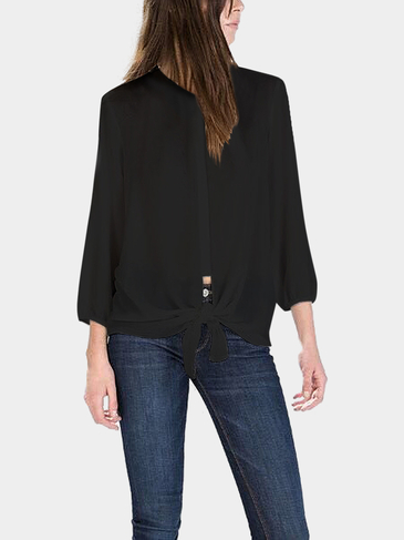 Black Knotted Chiffon Blouse