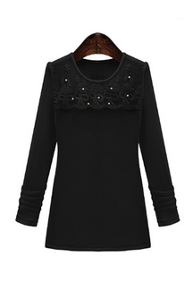 Plus Size Black Lace Pearl Embellished Shirt