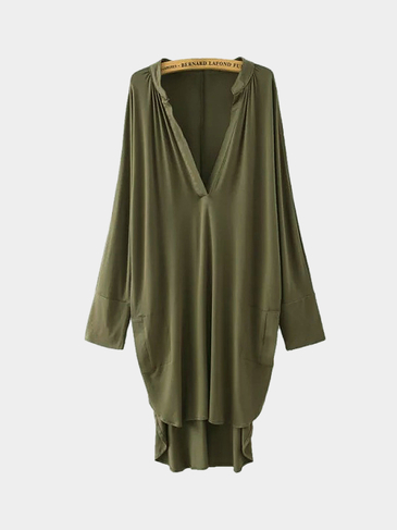 Green Asymmetric V Neck Dress