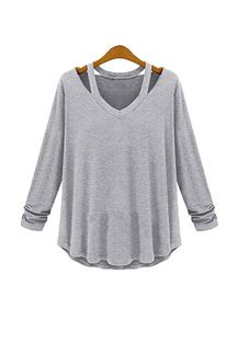Plus Size Long Sleeve Loose Blouse in Light Grey