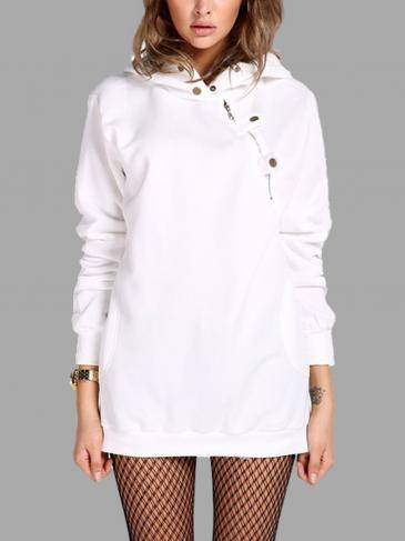 White Hooded Long Sleeve Slant Zipper Sweatshirt