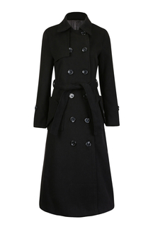 Longline Woolen Coat with Belt