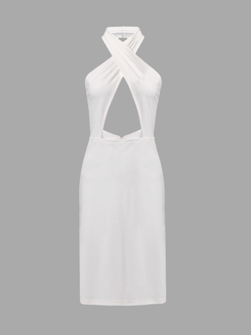 White Halterneck Bodycon Dress with Cut-out Details