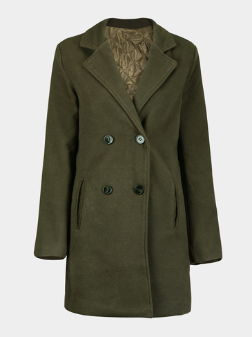 Army Green Double Breasted Longline Wool Coat