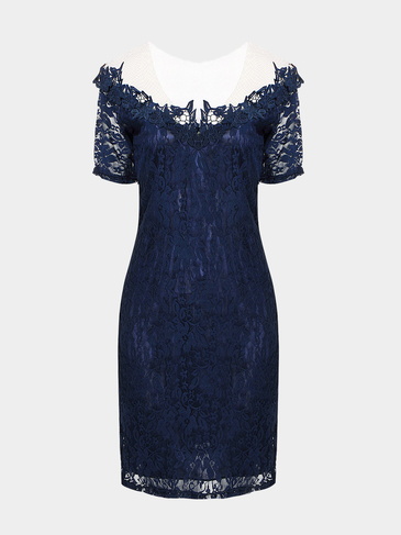 Blue Lace Dress With Mesh Detail