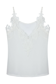 White Chiffon Cami with Lace Insert