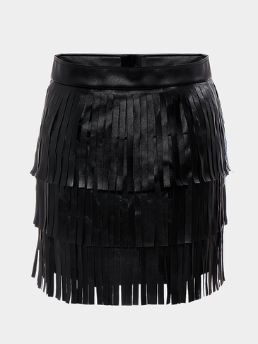 Black Leather Look Skirt with Tassel Detail