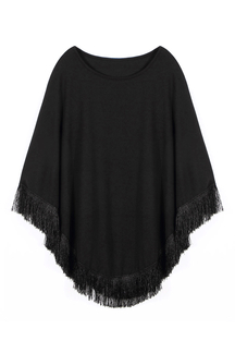 Black Cape with Fringe Trim Detail