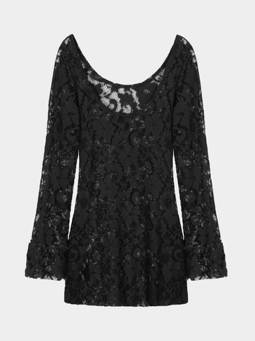 Crochet Lace Mini Dress in Black