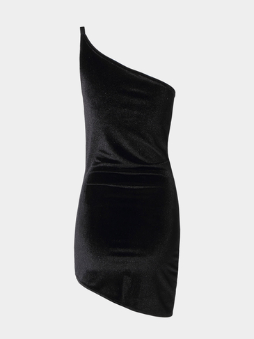 Black Party Dress with One Shoulder