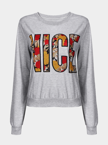 Grey Sweatshirt with Colorful Letter Print