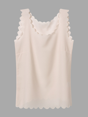 Light Pink Chiffon Vest with Scallop Hem