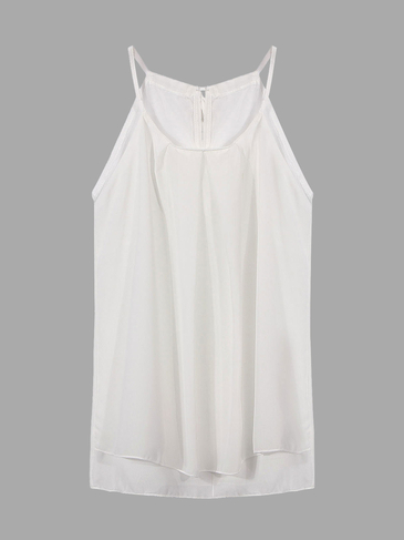 White Chiffon Vest with Self-tie Straps