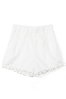White Shorts with Pom Pom Detail