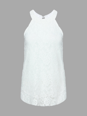 White Lace Vest With Halter Neck