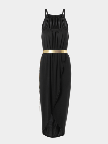 Black Spaghetti Strap Split Slim Dress