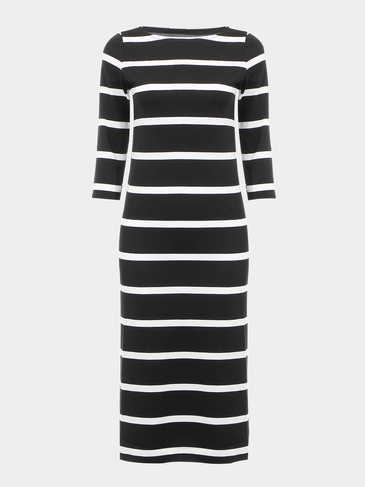Stripe Dress with 3/4 Length Sleeve