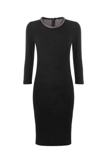 Crew Neckline Dress with 3/4 Sleeve