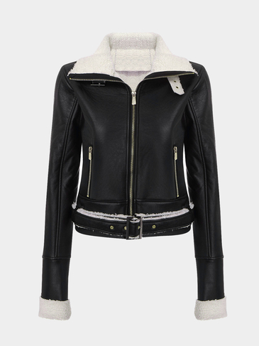 Belted Jacket in Faux Leather
