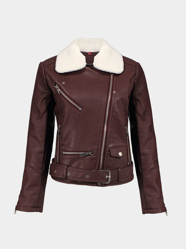 Faux Leather Jacket with Detachable Collar