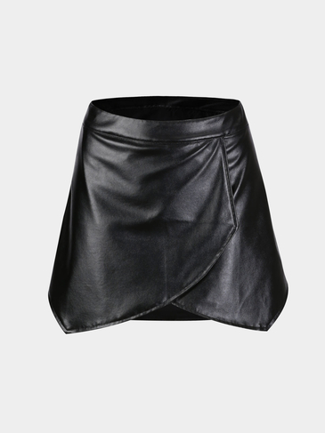 Black Skirt with Asymmetric Hem