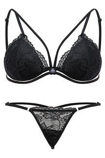 Black Random Pattern Lace Strappy Design Triangle Lingeries sets