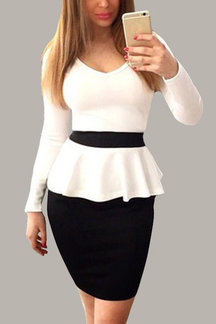 Long Sleeves V-neck Flounced Bodycon Mini Dress