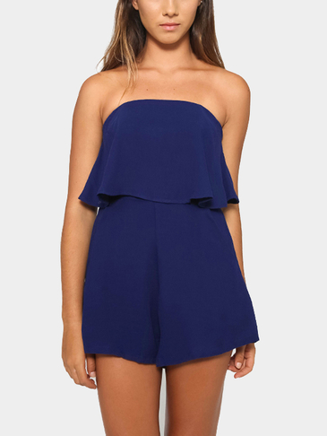 Off The Shoulder Playsuit with Layered Details in Navy